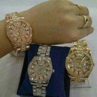 Jam Tangan Wanita Rolex Balok Rantai Rosegold (Tanggal Aktif)