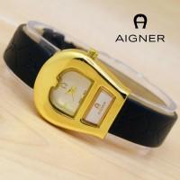 JAM TANGAN WANITA AIGNER A052 BLACK GOLD