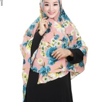 Jilbab Langsung Syiria Bahan Bubble Pop Motif Bunga Cantik - JL638
