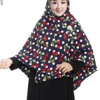 Jilbab Langsung Syiria Bahan Bubble Pop Motif Buah Cherry - JL637