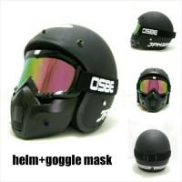 Helm Retro Klasik JPN ARC Hitam Pakai Google Mask Pelangi