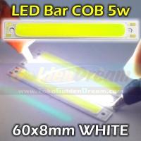 Jual PUTIH - LED Bar COB 5w Strip 60x8mm Lampu Batang Petak Persegi White Murah