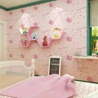 Wallpaper Sticker roll hello kitty pink kamar anak