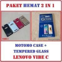 Paket Hemat Casing Hp Motomo + Tempered Glass Lenovo Vibe C A2020