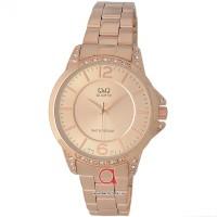 Jam tangan wanita cewek merk QQ QnQ Q&Q type elegant rosegold original