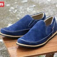 Sepatu Casual Santai Pria Kickers Slop Suede Biru Baru