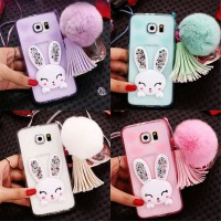 Casing Hp Cover Samsung S5 S6 S6 EDGE Rabbit Crystal Case
