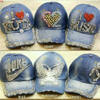 Shiny hat~topi i love~topi tulisan~topi santai~topi jeans~RB