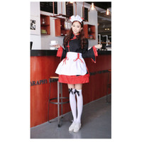 BAJU FASHION KOSTUM PELAYAN WANITA COSTUME MAID HALLOWEN BLACK IMPORT