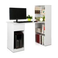 Meja Komputer Dengan Rak Buku Putih / Meja Kerja / Meja Kantor Diskoun