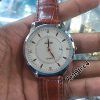 Jam Tangan Pria Alba Date Leather Brown Kw Super