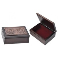 Box Tasbih Plate kaligrafi arab Allah-Muhammad 5.5x3.9 Dark Walnut