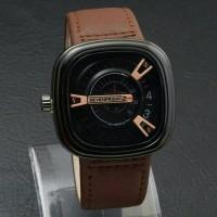 best seller !!!! jam tangan seven friday pria / jtr 680 coklat