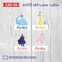 sticker label nama anak kartun cewek princes cinderella SLNAG-006