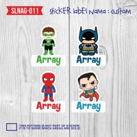 sticker label nama anak kartun boy cute laki-laki superhiro SLNAG-011