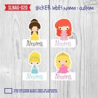 sticker label nama anak kartun cewek princes cinderella SLNAG-020