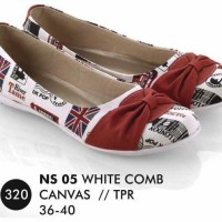 Flat shoes Putih Canvas Everflow NS 05 Diskon