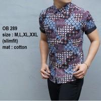Baju Kemeja Batik Pria Modern Slimfit lengan pendek OB 289