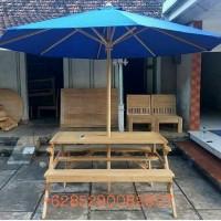 harga Meja Kursi Makan Payung Bangku Lipat Cafe Taman Outdoor Kayu Jati Tokopedia.com