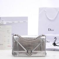 Tas Christian Dior Diorama Perforated Metallic Silver SOM0422