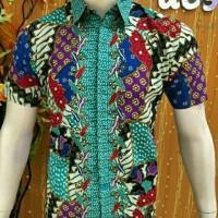 kemeja batik pria lengan pendek motif tambal toska
