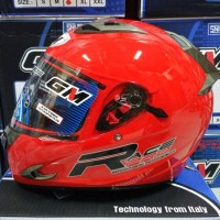Helm GM Race Pro 2 Red Glossy Solid Merah Full Visor Fullface