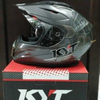Helm KYT Enduro Gunmetal Supermoto Fullface Full Visor Grey