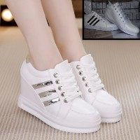 Sepatu Boots Rep Adidas Wedges Tinggi 3cm Realpict 06 White