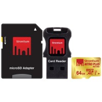 Strontium Nitro Plus 4K MicroSDXC UHS-1 U3 64GB With Adapter And Card