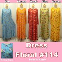 Baju Cewek Wanita DRESS FLORAL #114 Terbaru Murah Cantik