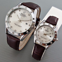 Jual Jam Tangan Rolex Couple Leather Brown Silver Harga Sepasang Murah