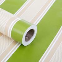 Wallpaper Dinding uk:45 cm x 10 meter , Garis Hijau + Putih Elegant