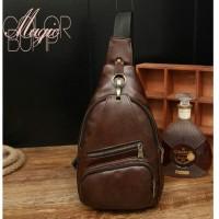 Tas slempang pria kulit impor / selempang shoulder sling bag coklat