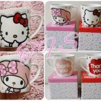Mug / Gelas / Cangkir Keramik Emboss Hello Kitty, My Melody