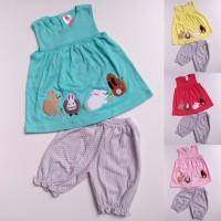 Baju Setelan Anak Bayi Perempuan Cewek Kaos Kelinci Celana Pendek