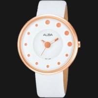 Alba Ladies AH8204X1 White RoseGold Leather Strap / Jam Wanita Ori