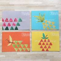 4 buah Kartu Pos / Postcards Lucu Warna-warni Gambar Buah