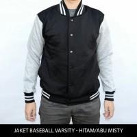 Jual jaket murah baseball  varsity polos hitam - abu Murah