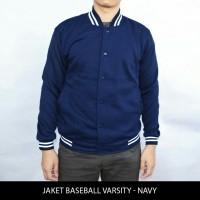 Jual jaket murah baseball varsity polos - biru navy/ dongker Murah
