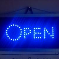 Tulisan Lampu Led / Led Sign OPEN BIRU CANTIK JUAL PULSA CAFE SALON