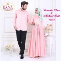 Rana Bevanie Dress Gamis Pesta Couple Brokat Cantik Busui Satin Peach