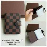Card Holder + Wallet LV Damier Clip 16 Card Kode 02