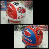 Helm Anak Cars (Model Retro) Anak Retro Helm Sinchan Garis