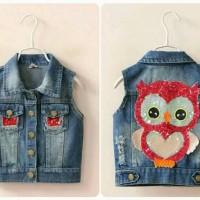 vest jeans anak / kids cute owl sequins import