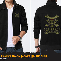 Jaket Anime One Piece Canvas Black One Piece SHP logo Luffy Zoro