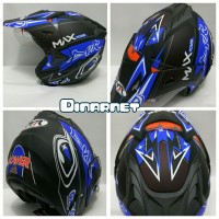harga Helm Semi Cross Double Visor Semi Trail Trabas Mx Power Black Blue Tokopedia.com