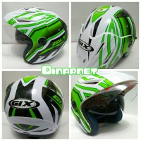 Helm Double Visor Standar SNI Gix Cx series Sport Racer White Green