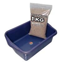 Paket Litter Box dan Pasir Wangi [Repack 1kg] / Cat Toilet [Size : S]