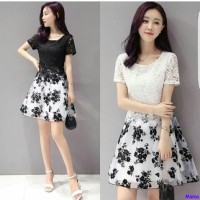harga Dress Daisy 2w/dress Brukat Hitam Putih/mini Dress Flowers/al Tokopedia.com
