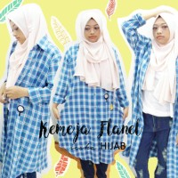 Kemeja Wanita Flanel Big Size Biru, dengan patch/ emblem, murah, hijab